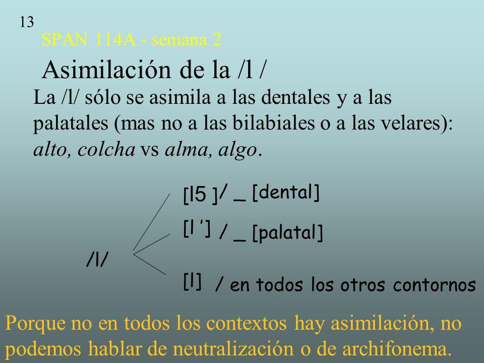SPAN 114A - semana 2 Asimilación de la /l /
