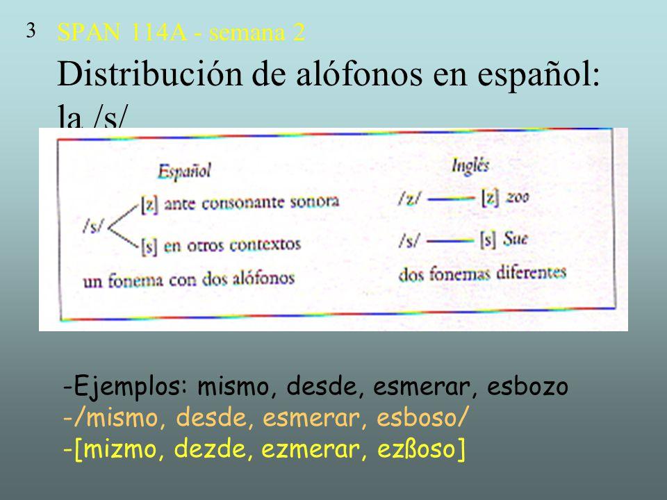 SPAN 114A - semana 2 Distribución de alófonos en español: la /s/