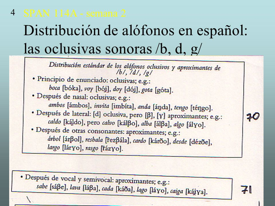 4 SPAN 114A - semana 2 Distribución de alófonos en español: las oclusivas sonoras /b, d, g/