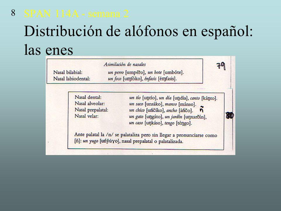 SPAN 114A - semana 2 Distribución de alófonos en español: las enes