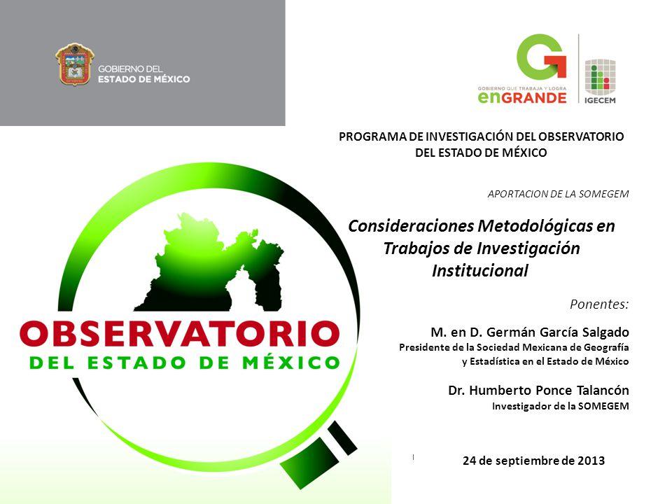 PROGRAMA DE INVESTIGACIÓN DEL OBSERVATORIO DEL ESTADO DE MÉXICO