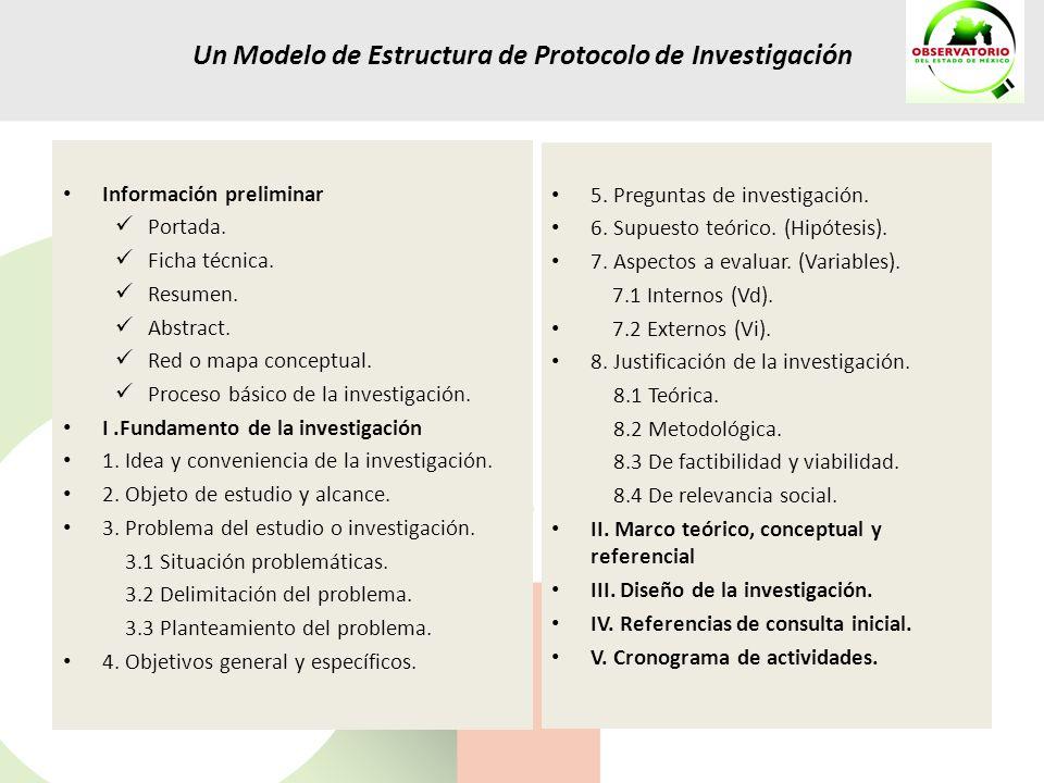 Un Modelo de Estructura de Protocolo de Investigación