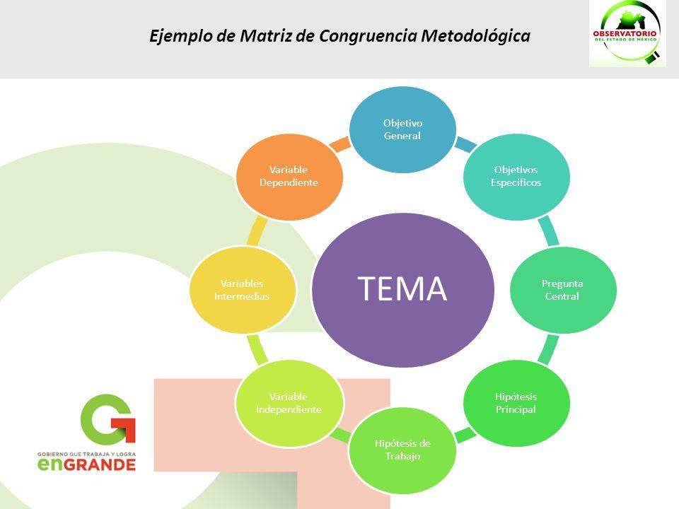 TEMA Ejemplo de Matriz de Congruencia Metodológica Objetivo General