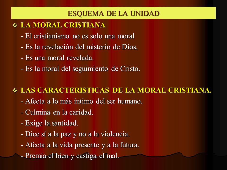ESQUEMA DE LA UNIDAD LA MORAL CRISTIANA. - El cristianismo no es solo una moral. - Es la revelación del misterio de Dios.