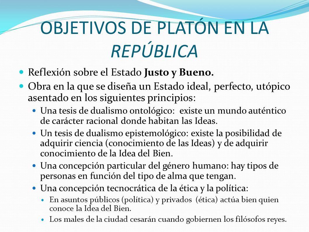 OBJETIVOS DE PLATÓN EN LA REPÚBLICA