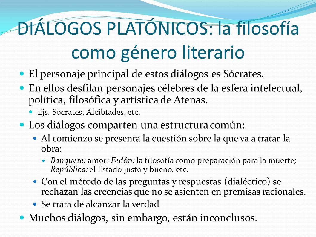 DIÁLOGOS PLATÓNICOS: la filosofía como género literario