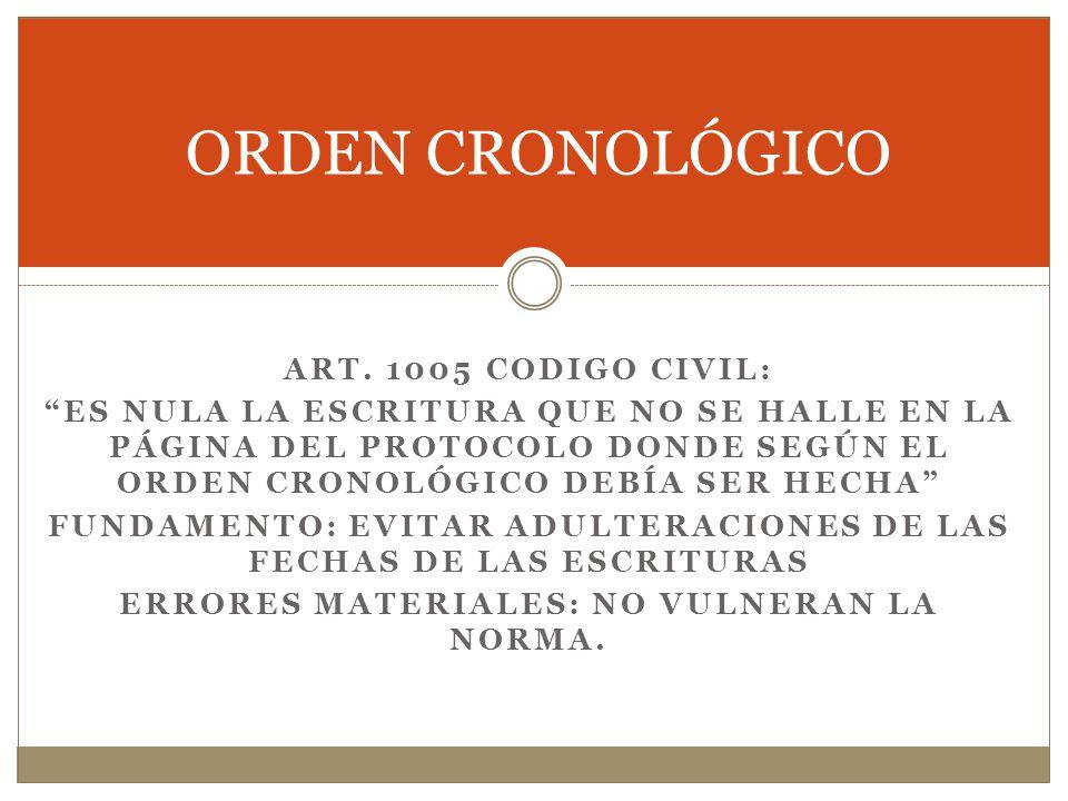 ORDEN CRONOLÓGICO ART. 1005 CODIGO CIVIL: