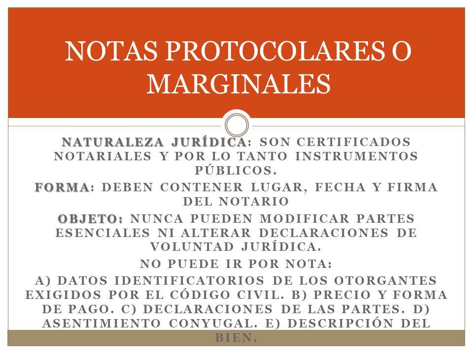 NOTAS PROTOCOLARES O MARGINALES