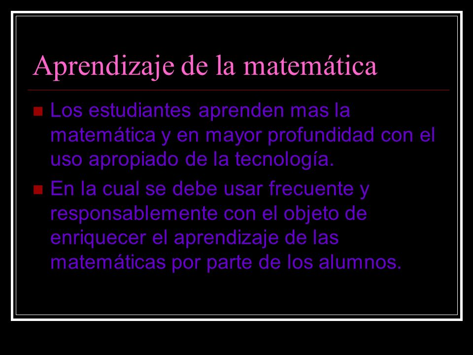 Aprendizaje de la matemática