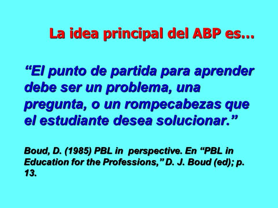 La idea principal del ABP es…