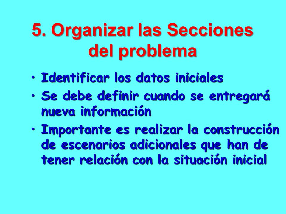 5. Organizar las Secciones del problema