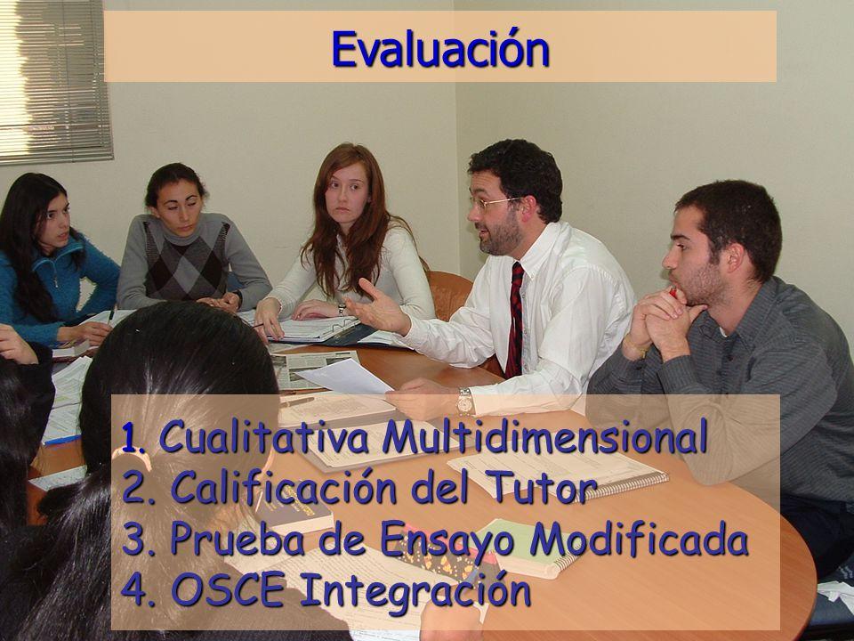 Evaluación 1. Cualitativa Multidimensional 2. Calificación del Tutor 3.