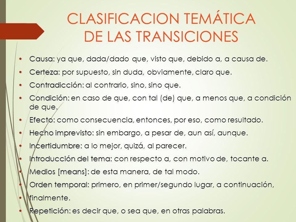 CLASIFICACION TEMÁTICA DE LAS TRANSICIONES