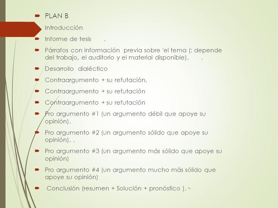 PLAN B Introducción Informe de tesis .