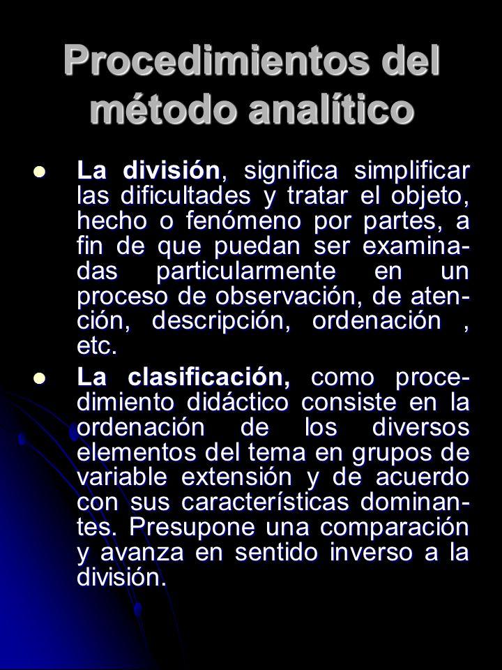 Procedimientos del método analítico