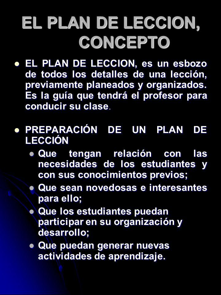 EL PLAN DE LECCION, CONCEPTO