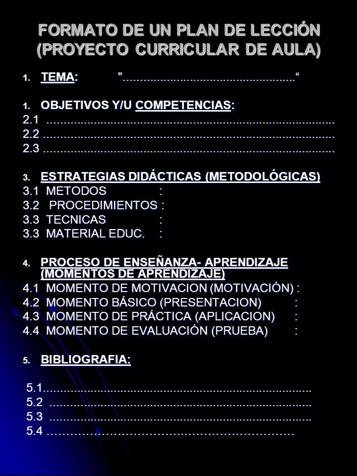FORMATO DE UN PLAN DE LECCIÓN (PROYECTO CURRICULAR DE AULA)