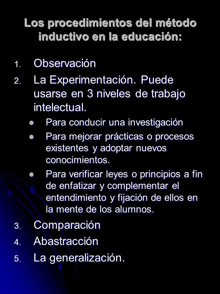 Los procedimientos del método inductivo en la educación: