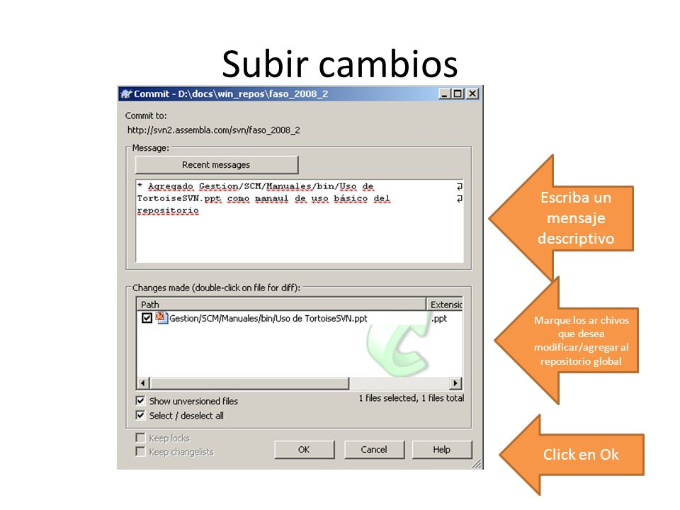 Subir cambios Escriba un mensaje descriptivo Click en Ok
