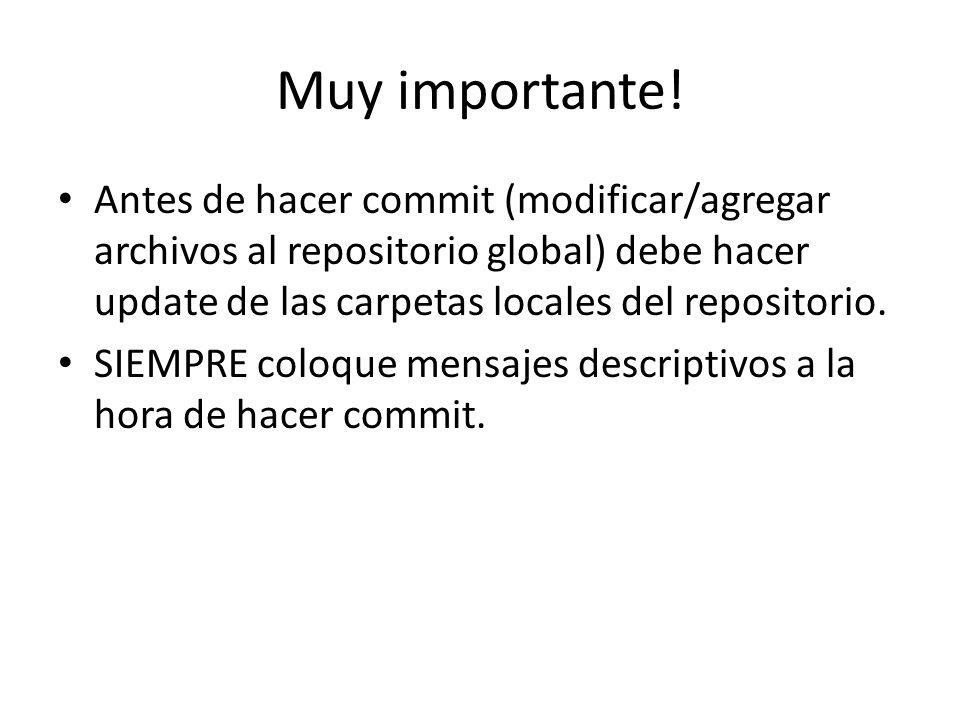 Muy importante! Antes de hacer commit (modificar/agregar archivos al repositorio global) debe hacer update de las carpetas locales del repositorio.