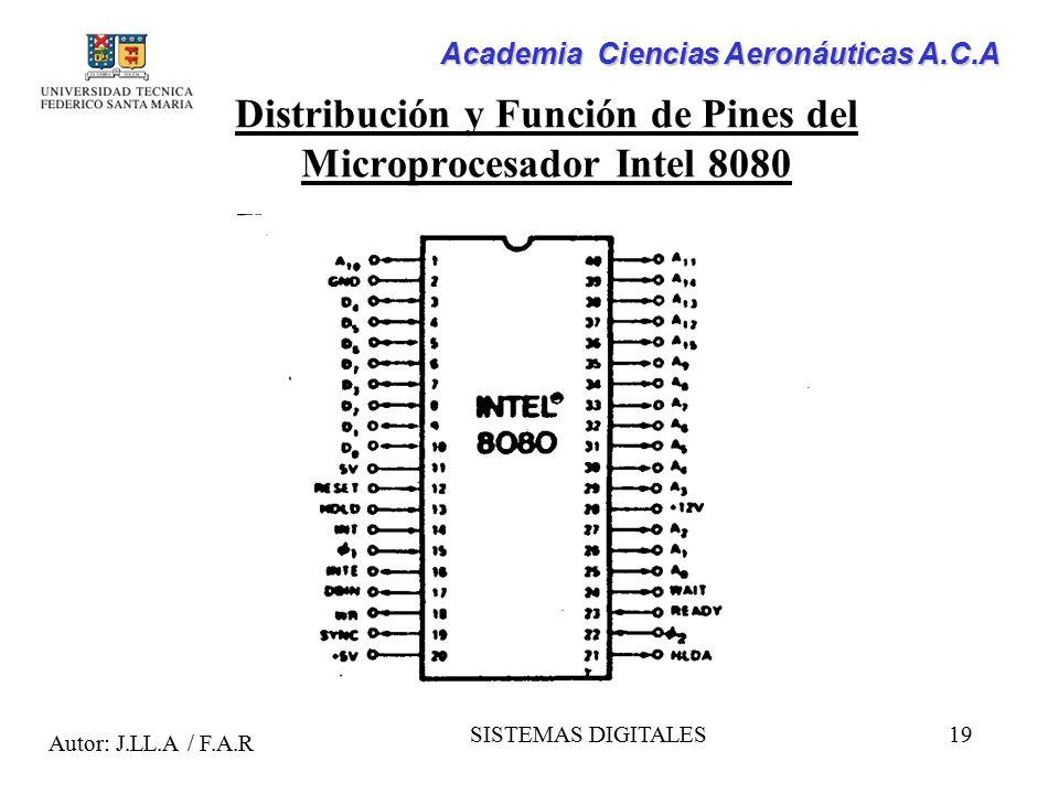 Distribución y Función de Pines del Microprocesador Intel 8080