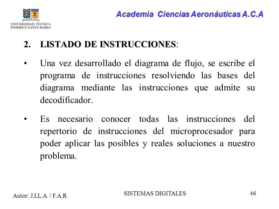 LISTADO DE INSTRUCCIONES: