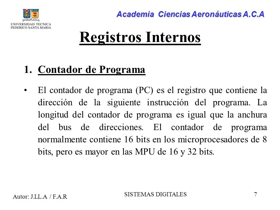 Registros Internos Contador de Programa