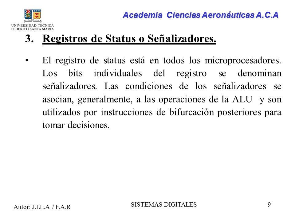 Registros de Status o Señalizadores.