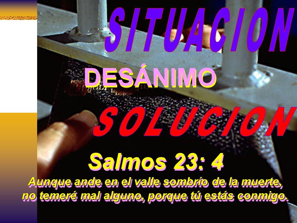 DESÁNIMO Salmos 23: 4 SITUACION SOLUCION