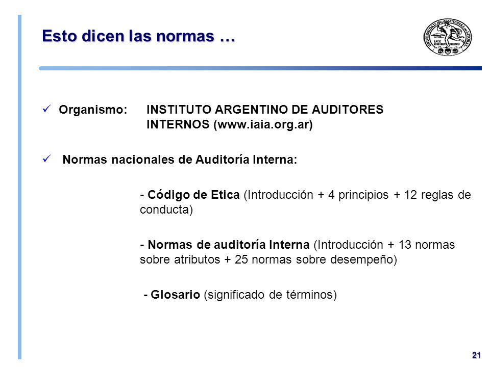 09/04/2017 Esto dicen las normas … Organismo: INSTITUTO ARGENTINO DE AUDITORES INTERNOS (www.iaia.org.ar)
