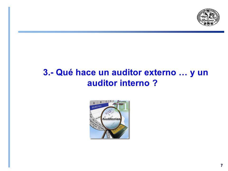 3.- Qué hace un auditor externo … y un auditor interno