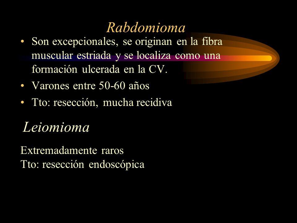 Rabdomioma Son excepcionales, se originan en la fibra muscular estriada y se localiza como una formación ulcerada en la CV.