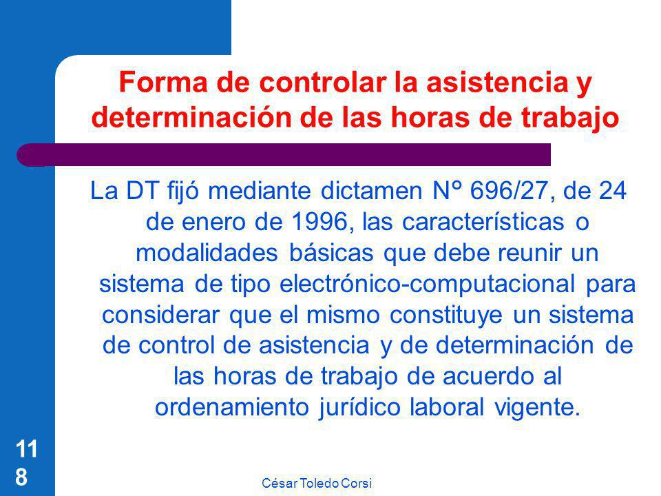 Forma de controlar la asistencia y determinación de las horas de trabajo