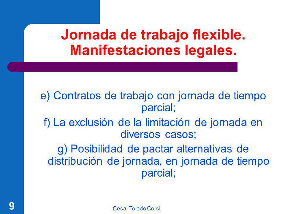 Jornada de trabajo flexible. Manifestaciones legales.