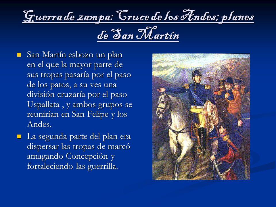 Guerra de zampa: Cruce de los Andes; planes de San Martín
