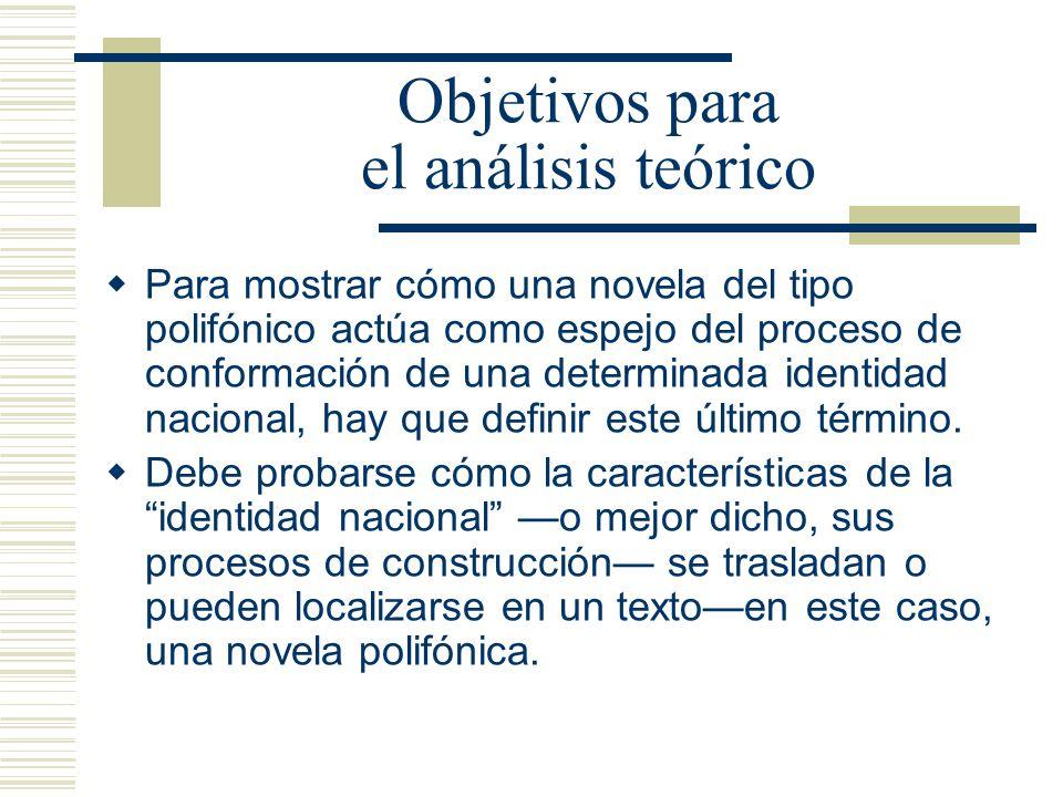 Objetivos para el análisis teórico