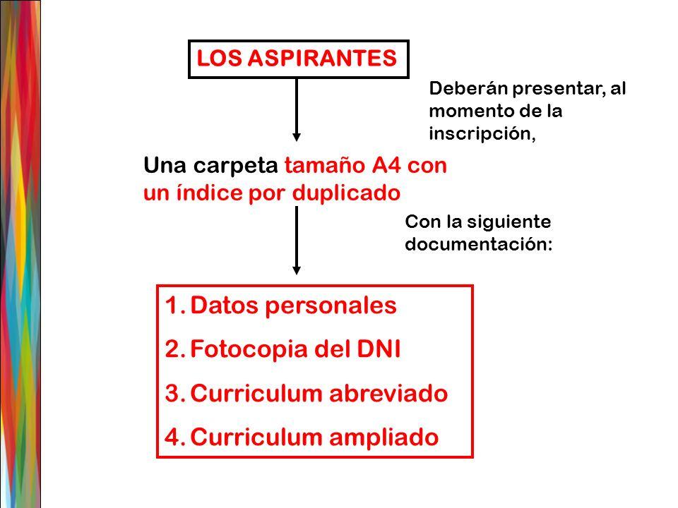 Datos personales Fotocopia del DNI Curriculum abreviado