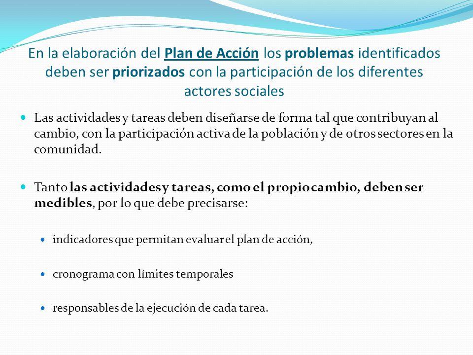 En la elaboración del Plan de Acción los problemas identificados deben ser priorizados con la participación de los diferentes actores sociales