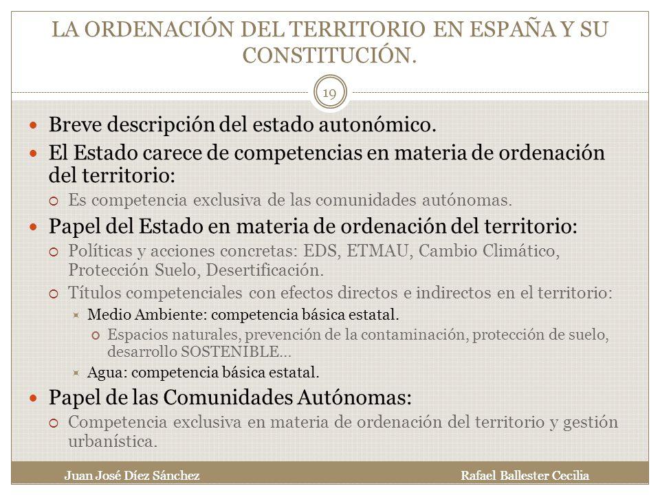LA ORDENACIÓN DEL TERRITORIO EN ESPAÑA Y SU CONSTITUCIÓN.