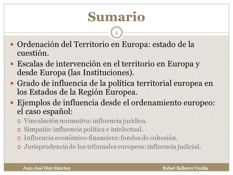 Sumario Ordenación del Territorio en Europa: estado de la cuestión.