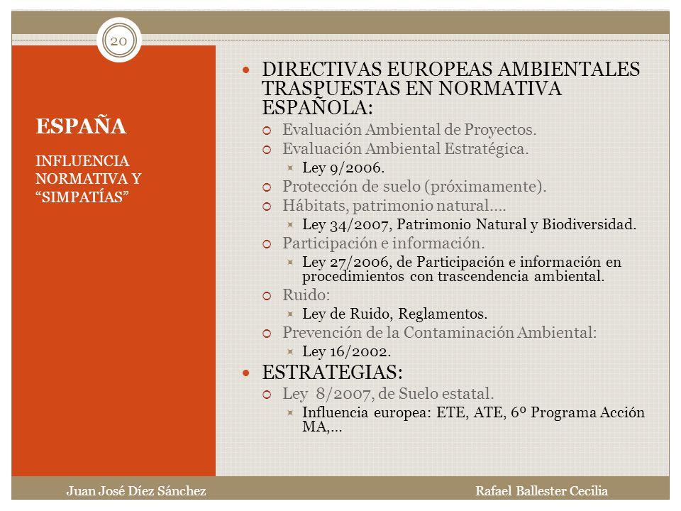 DIRECTIVAS EUROPEAS AMBIENTALES TRASPUESTAS EN NORMATIVA ESPAÑOLA: