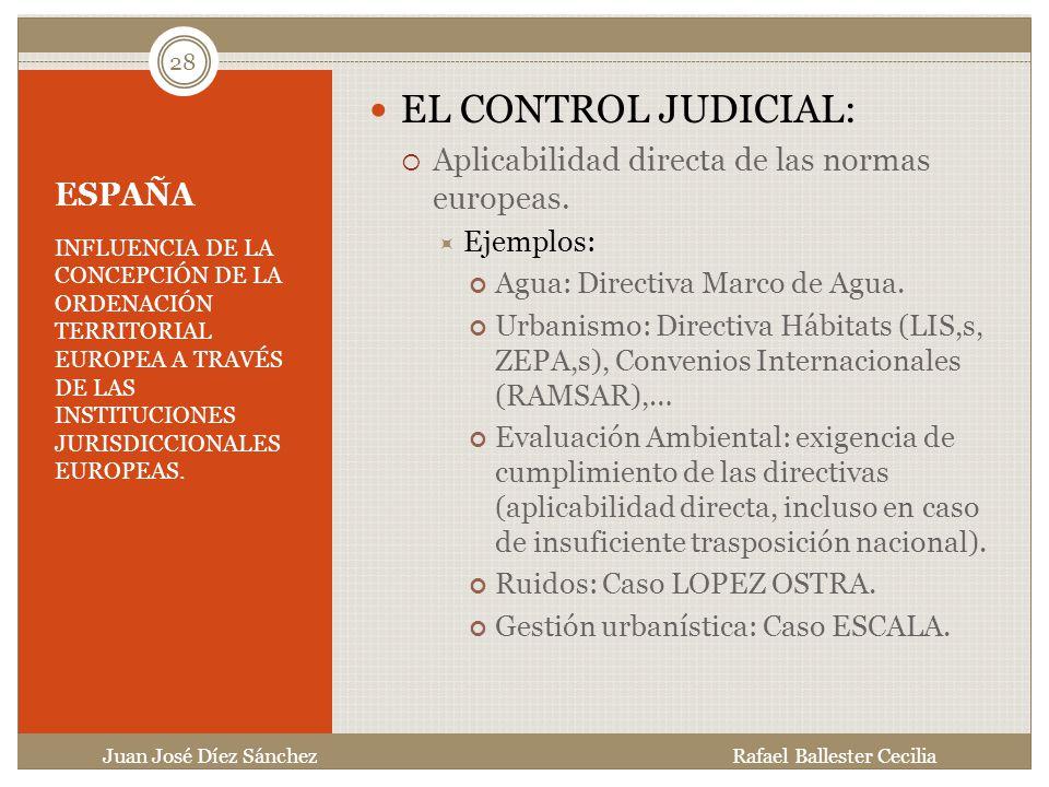 EL CONTROL JUDICIAL: Aplicabilidad directa de las normas europeas.