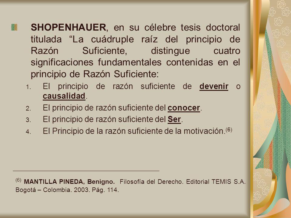 SHOPENHAUER, en su célebre tesis doctoral titulada La cuádruple raíz del principio de Razón Suficiente, distingue cuatro significaciones fundamentales contenidas en el principio de Razón Suficiente: