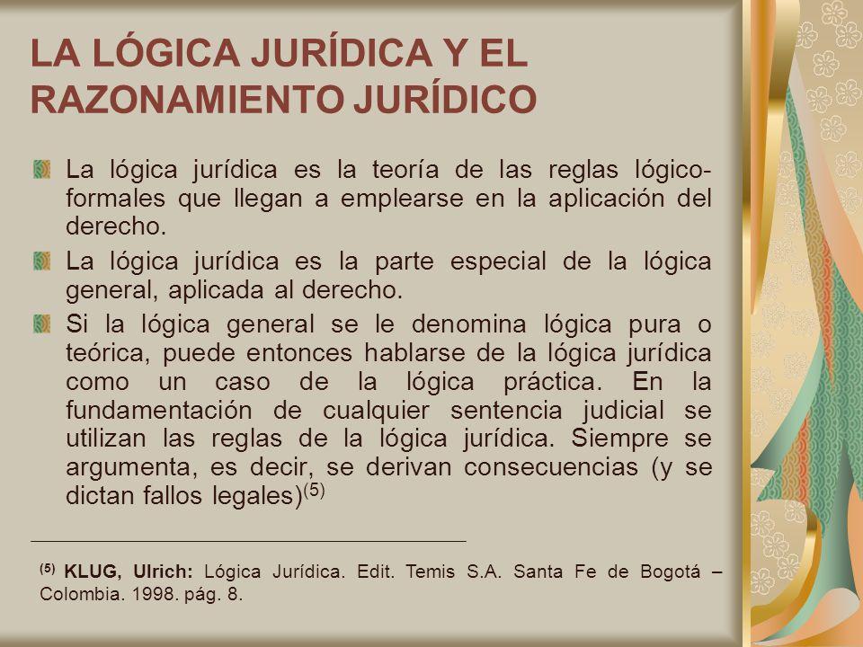LA LÓGICA JURÍDICA Y EL RAZONAMIENTO JURÍDICO