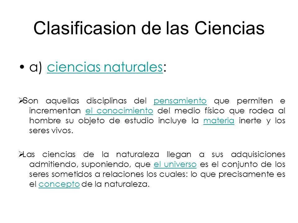 Clasificasion de las Ciencias