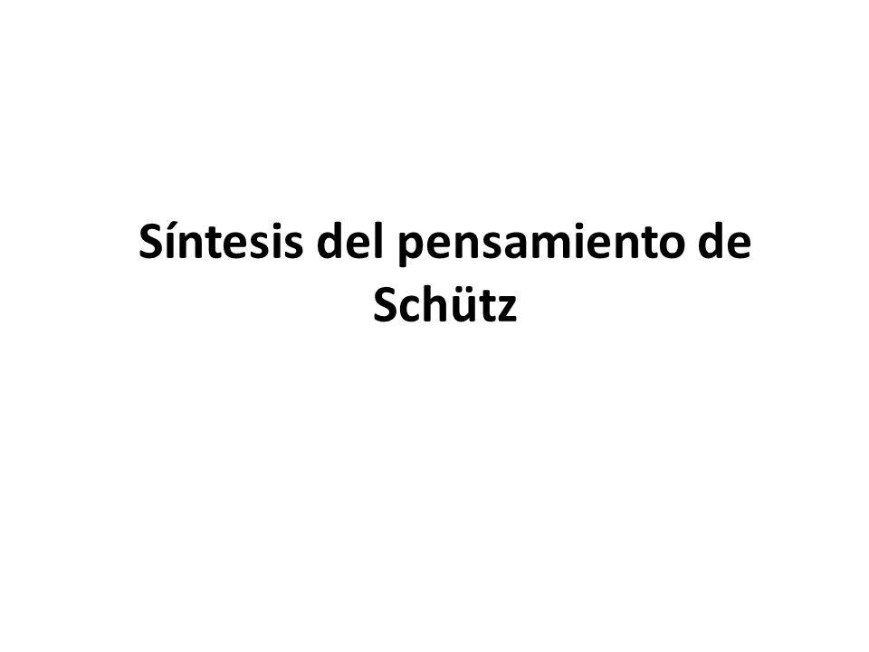 Síntesis del pensamiento de Schütz