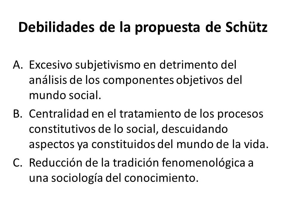 Debilidades de la propuesta de Schütz
