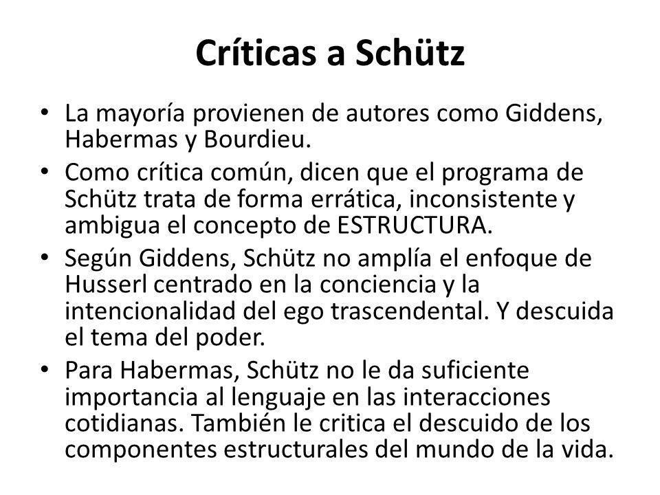 Críticas a Schütz La mayoría provienen de autores como Giddens, Habermas y Bourdieu.