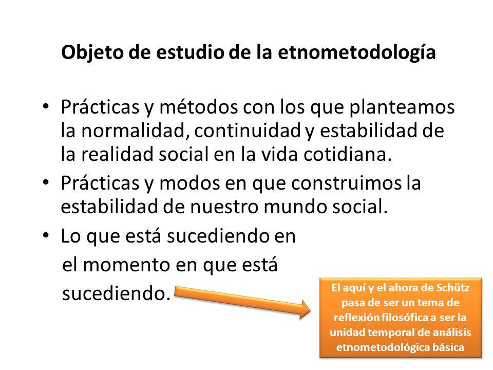 Objeto de estudio de la etnometodología