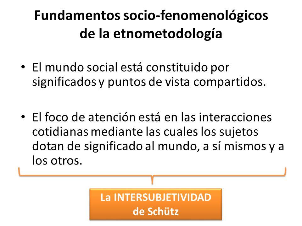 Fundamentos socio-fenomenológicos de la etnometodología